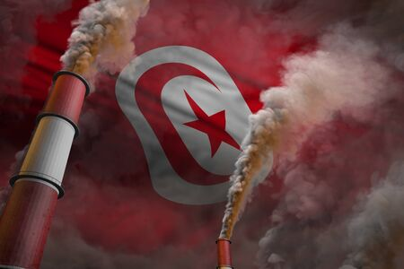 Pollution fight in Tunisia concept - industrial 3D illustration of two large plant chimneys with heavy smoke on flag background