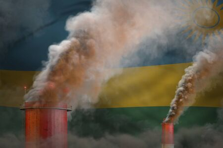 dense smoke of factory chimneys on Rwanda flag - global warming concept, background with space for your content - industrial 3D illustration