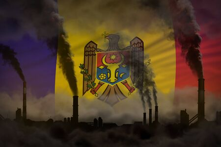 Global warming concept - dense smoke from industry chimneys on Moldova flag background with place for your content - industrial 3D illustration Imagens
