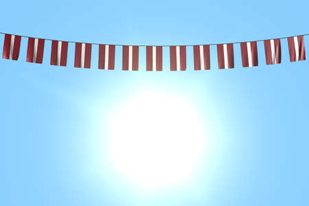 pretty many Latvia flags or banners hangs on rope on blue sky background - any feast flag 3d illustration
