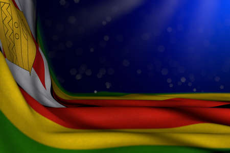 beautiful dark picture of Zimbabwe flag lying flat in corner on blue background with selective focus and free place for text - any occasion flag 3d illustration