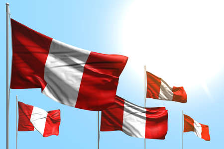 wonderful 5 flags of Peru are waving on blue sky background - any occasion flag 3d illustration