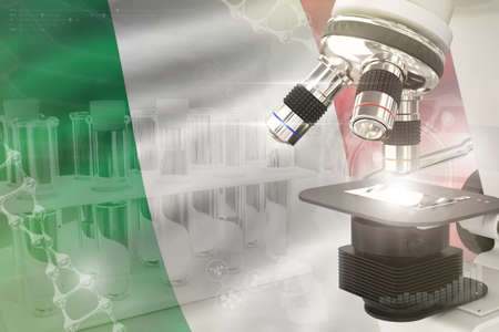 Italy science development digital background - microscope on flag. Research of pharmaceutical industry design concept, 3D illustration of object Stok Fotoğraf