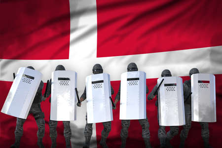 Denmark protest fighting concept, police guards protecting state against disorder - military 3D Illustration on flag background Stok Fotoğraf