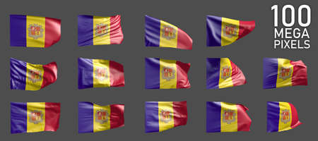 Andorra flag isolated - various images of the waving flag on gray background - object 3D illustration Foto de archivo