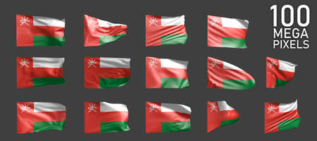 Oman flag isolated - various realistic renders of the waving flag on gray background - object 3D illustration Foto de archivo