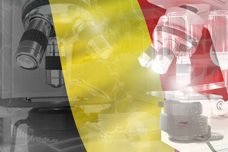 Microscope on Belgium flag - science development conceptual background. Research in biotechnology or genetics, 3D illustration of object