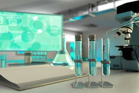 laboratory test-tubes in biochemistry university clinic - drinking water quality test for bacteria concept, medical 3D illustration