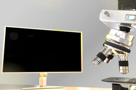 medical research concept, object 3D illustration - lab hi-tech microscope and monitor with blank space for your content with flare on gradient background 版權商用圖片