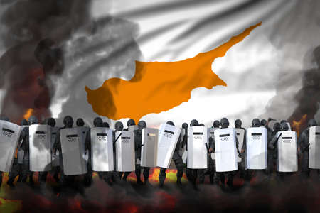 Cyprus protest fighting concept, police officers in heavy smoke and fire protecting law against revolt - military 3D Illustration on flag background