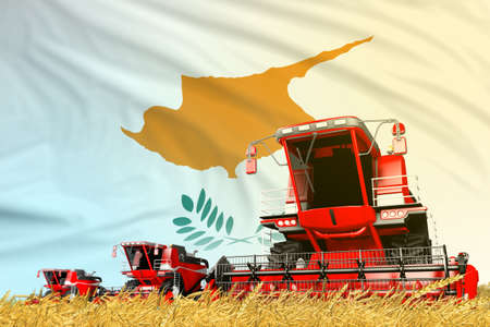 industrial 3D illustration of red farm agricultural combine harvester on field with Cyprus flag background, food industry concept
