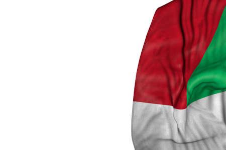 beautiful national holiday flag 3d illustration - Madagascar flag with large folds lying in left side isolated on white