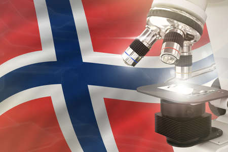 Norway science development concept - microscope on flag background. Research in chemistry or biology 3D illustration of object