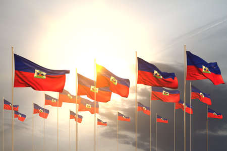 pretty feast flag 3d illustration - many Haiti flags in a row on sunset with empty place for content 版權商用圖片