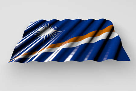 nice celebration flag 3d illustration - glossy flag of Marshall Islands with large folds lying flat isolated on gray 版權商用圖片