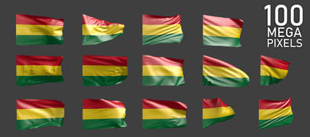 14 various pictures of Bolivia flag isolated on gray background - 3D illustration of object 版權商用圖片