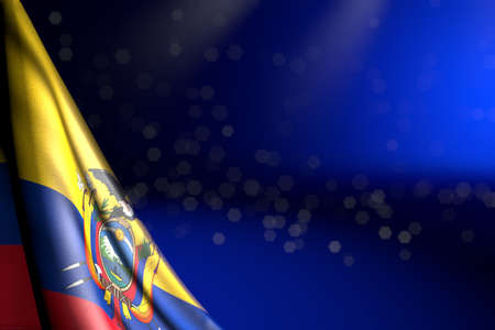 pretty illustration of Ecuador flag hangs diagonal on blue with selective focus and free place for text - any occasion flag 3d illustration 写真素材