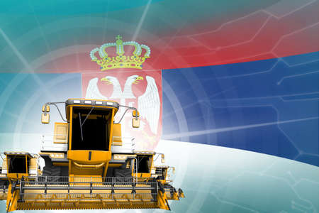 Digital industrial 3D illustration of 3 yellow modern rye combine harvesters on Serbia flag, farming equipment modernization concept