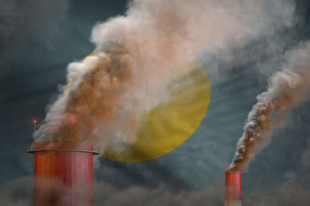 Global warming concept - heavy smoke from industrial pipes on Palau flag background with space for your logo - industrial 3D illustration