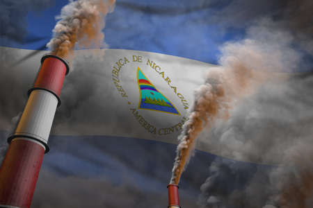 Pollution fight in Nicaragua concept - industrial 3D illustration of two huge factory pipes with dense smoke on flag background
