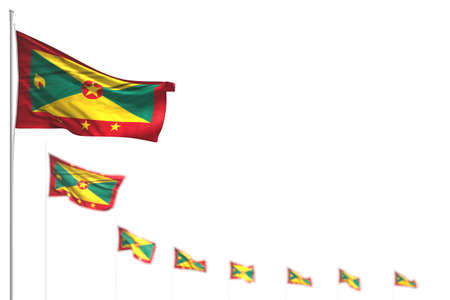 nice Grenada isolated flags placed diagonal, image with soft focus and place for your text - any celebration flag 3d illustration 版權商用圖片