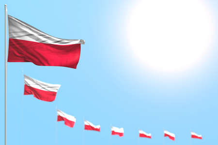 nice anthem day flag 3d illustration - many Poland flags placed diagonal with soft focus and free space for your content