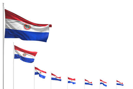 wonderful anthem day flag 3d illustration - many Paraguay flags placed diagonal isolated on white with place for text 版權商用圖片