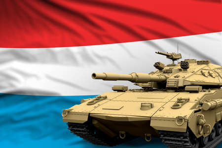 Heavy tank with fictional design on Luxembourg flag background - modern tank army forces concept, military 3D Illustration