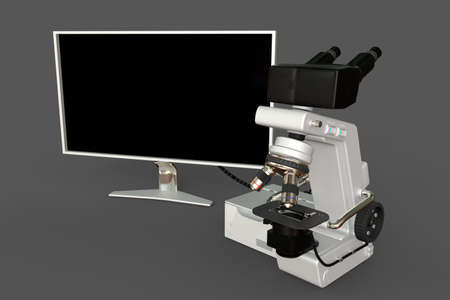 White electronic microscope, control block and blank display isolated, photorealistic medical 3d illustration with fictive design, clinical discovery concept