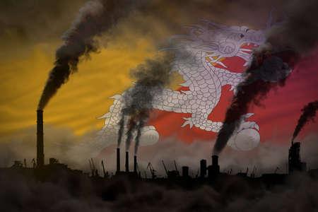 Dark pollution, fight against climate change concept - factory chimneys dense smoke on Bhutan flag background - industrial 3D illustration