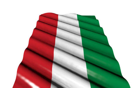 pretty shining flag of Hungary with big folds lay isolated on white, perspective view - any occasion flag 3d illustration