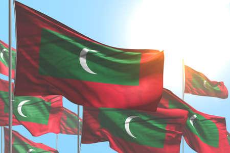 nice many Maldives flags are wave on blue sky background - any celebration flag 3d illustration
