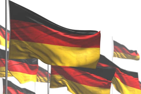 beautiful many Germany flags are waving isolated on white - photo with soft focus - any holiday flag 3d illustration 版權商用圖片