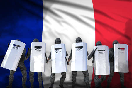 France protest stopping concept, police squad protecting state against revolt - military 3D Illustration on flag background