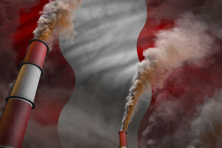 Pollution fight in Peru concept - industrial 3D illustration of two big plant pipes with heavy smoke on flag background
