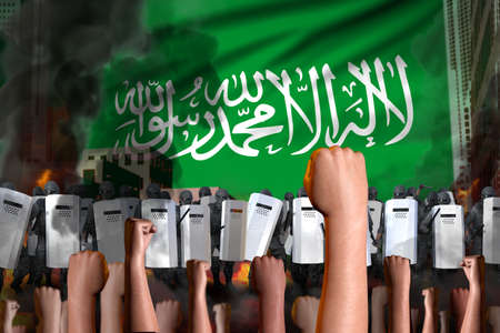 Protest in Saudi Arabia - police officers stand against the protesting crowd on flag background, revolt stopping concept, military 3D Illustration