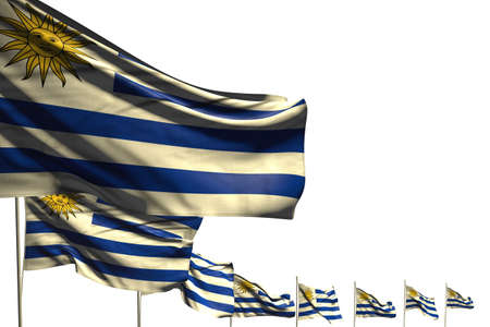 wonderful many Uruguay flags placed diagonal isolated on white with space for your content - any occasion flag 3d illustration