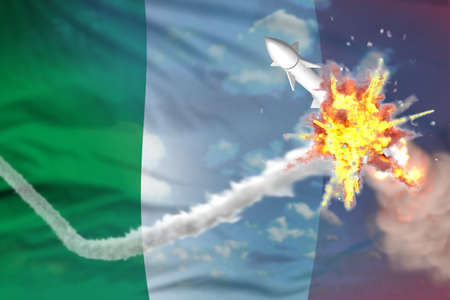 Strategic rocket destroyed in air, Italy supersonic missile protection concept - missile defense military industrial 3D illustration