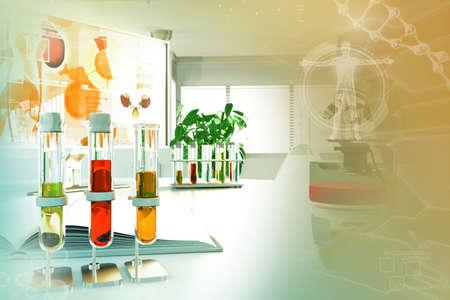 Urine sample test for coronavirus or crystalline uric acid - proofs in modern science university facility, medical 3D illustration 版權商用圖片