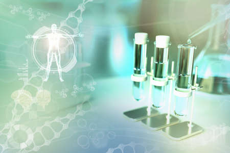 drink water quality test for viruses (like covid-2019) concept - laboratory test-tubes in modern medical research office, medical 3D illustration