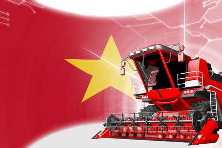 Digital industrial 3D illustration of red advanced rural combine harvester on Vietnam flag - agriculture equipment innovation concept