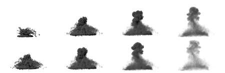a lot of images of big air bomb bang - dense mushroom cloud of heavy smoke isolated on white background - 3D illustration of objects