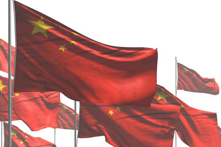 beautiful any holiday flag 3d illustration - many China flags are waving isolated on white 版權商用圖片