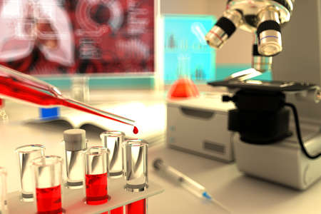 Medical 3D illustration, laboratory proofs vials in university facility - blood analysis for virus (like covid-19) concept 版權商用圖片