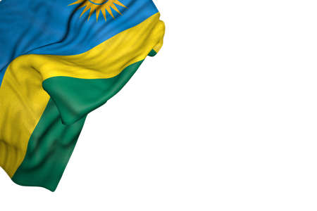 nice Rwanda flag with big folds lying flat in top left corner isolated on white - any occasion flag 3d illustration 写真素材