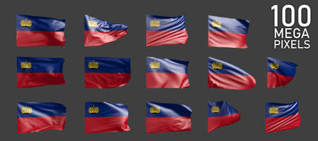 a lot of different pictures of Liechtenstein flag isolated on gray background - 3D illustration of object Zdjęcie Seryjne