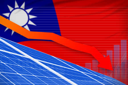Taiwan Province of China solar energy power lowering chart, arrow down - alternative energy industrial illustration. 3D Illustration