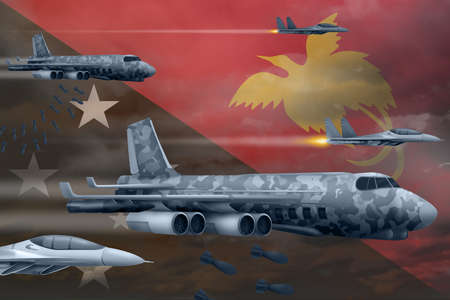 Papua New Guinea bomb air strike concept. Modern Papua New Guinea war airplanes bombing on flag background. 3d Illustration