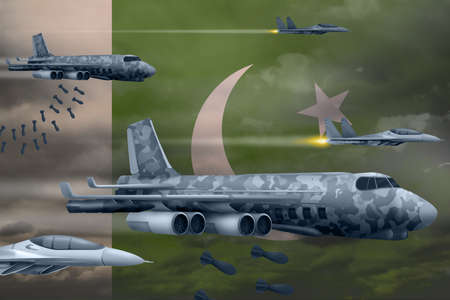 Pakistan bomb air strike concept. Modern Pakistan war airplanes bombing on flag background. 3d Illustration