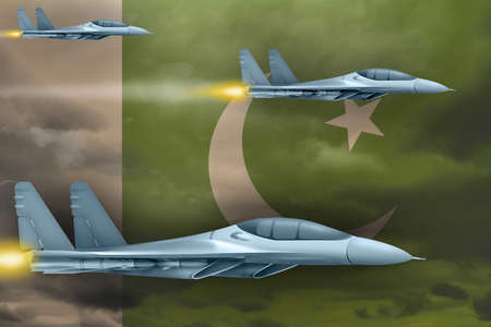 Pakistan air strike concept. Modern war airplanes attack on Pakistan flag background. 3d Illustration
